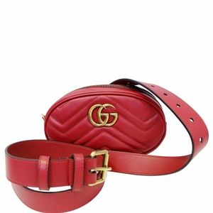 GUCCI GG Marmont Matelasse Leather Belt Bag 476434